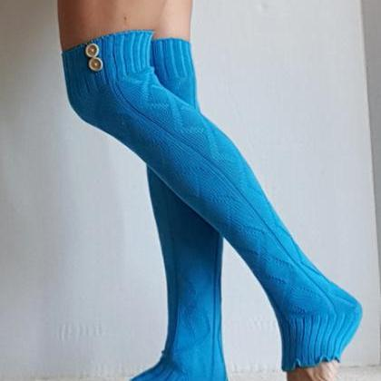 Leg warmers in TURQUOISE with butto..
