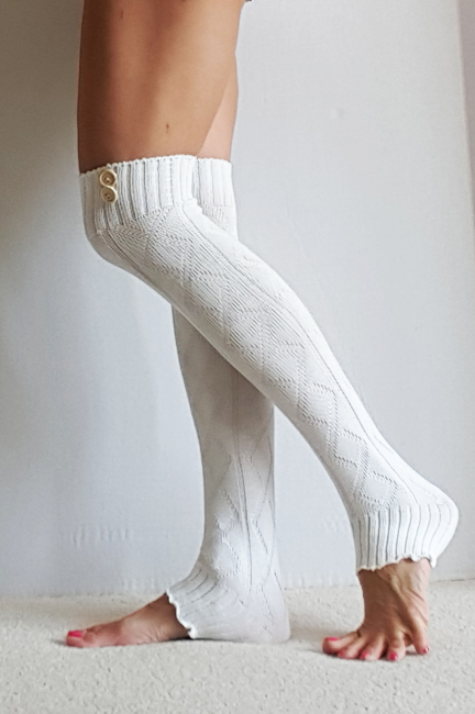 Leg Warmers In CREAM With Buttons, Diamond Pattern, Yoga, Boot Cuffs, Legwarm...